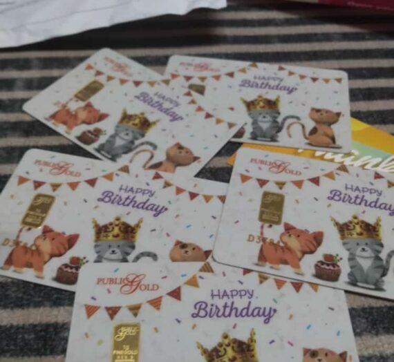 GOLD BAR HAPPY BIRTHDAY CAT DARI PUBLIC GOLD